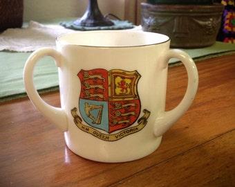 Three Handled Cup - W.H. Goss Crested Ware- Souvenir-Vintage British Royalty Collectible- Windsor, H.M.Queen Victoria,Florea Etona Crest.