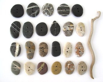 Stone Buttons Mediterranean River Rock Pebble Natural Stone Organic Diy Knitting Sewing Craft Supplies LARGE ROCK BUTTONS 45-50 mm