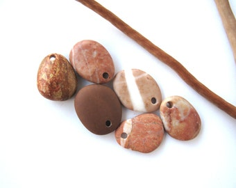 Beach Stone Pendants Top Drilled Stones Natural Stone Beads Mediterranean River Stone Pendants Diy Jewelry SWEET PEACH MIX 21-23 mm long