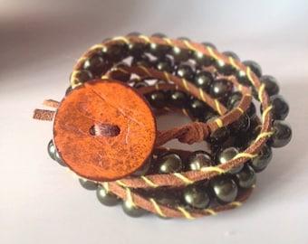leather bracelet boho girl wrap leather bracelet beaded bracelet biker bracelet handmade bracelet gypsy girl women leather unisex men gifts