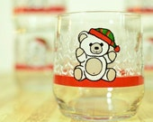 Vintage Libbey Teddy Bear Holiday Christmas Glasses: Set of 6
