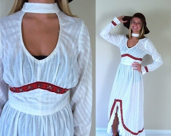 Half Off vtg 70s ivory FOLK open back MAXI DRESS medium hippie floral boho festival ethnic ruffle floral