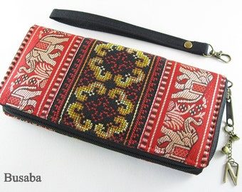 Personalized Monogramed Wallet, Elephant Embroidered Zippered Wallet, Colorful Hmong Tribal Long Wallet, Red Wallet