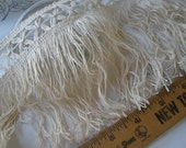 "Boho Ecru Criss Cross Lace Fringe trim 5"" wide cotton yards BTY sewing crafts costume home decor natural 12.6cm"