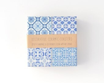 Moroccan Tiles Coasters Ethnic Blue White Beverage Drink Ceramic Tile Coasters Limited Edition