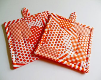 Potholders, Patchwork Potholders, Set of Two Quilted  Potholders