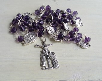 Stations of the Cross Rosary, Mens Rosary, Dark Purple Rosary, Catholic Rosary, Prayer Beads, First Communion