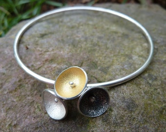 Solid Silver and Gold Bangle, Triple Cup Bangle.