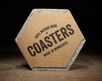 100% Wool Felt Gray Hexagon Coasters - 5mm Thick German-milled Felt - Rich, Lightfast Colors - Natural and Renewable