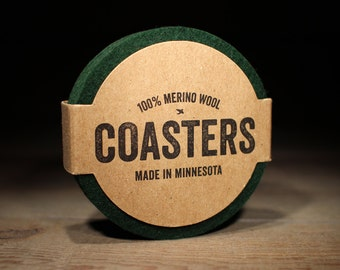100% Wool Round Felt Coasters - 5mm Thick German-milled Felt - Rich, Lightfast Colors - Natural and Renewable - Dark Green