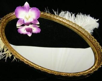 Vintage Vanity Mirror / Oval Gold Metal Mirror Tray / Hollywood Regency Bathroom vanity Tray / Perfume or Jewelry Display