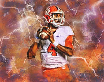 Clemson Tigers Football Deshaun Watson Art Print Limited with COA
