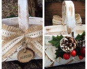 Christmas Basket Rustic Farmhouse Country Chic Custom Tree Slice Tag Flower Girl Basket Teacher Gift Basket