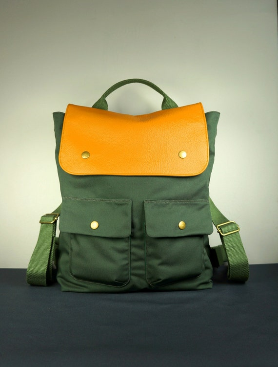 City Backpack in Army Green Canvas Twill/ Backpack/ Men/ Laptop Bag/ Tan Leather/ Back To School/ New York