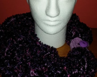 Crocheted Shades of Purple Infinity Scarf