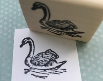 Floating Swan Rubber Stamp 1664