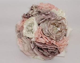Fabric Bouquet with Jeweled Handle