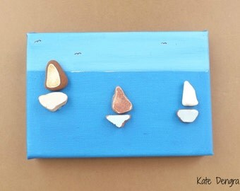 Afternoon Sailing SALE Pebble Art Stone Sea Glass Driftwood Pottery Brick Painting Made with Beach Finds Painted Canvas READY To Ship