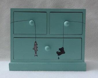 SALE. Keepsake Gone Fishing Treasure box Chest of drawers, watery green - hand painted LAST ONE