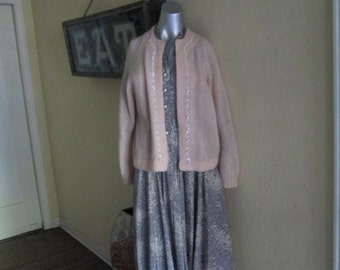 50s Pale Pink Hand Knit Wool Cardigan XL Sequin Trim