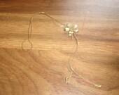 vintage necklace bolo style goldtone chain flower