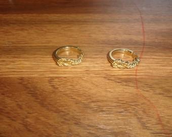 vintage clip on earrings goldtone hoops braid knot