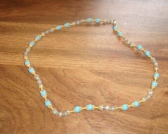 vintage necklace goldtone blue white glass beads