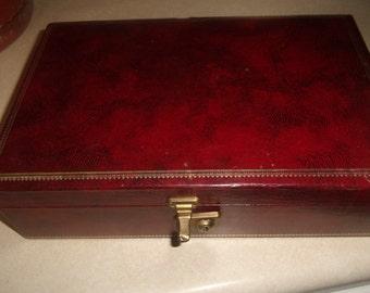 vintage jewelry box mele case holder red velvet lined