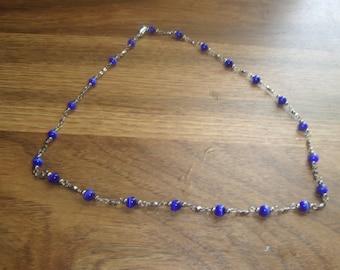 vintage necklace silvertone chain blue swirl glass