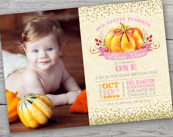 Little Pumpkin Birthday Invitation, PRINTABLE, Pumpkin First Birthday Invitation, Little Pumpkin Invite, Our Little Pumpkin Is Turning One