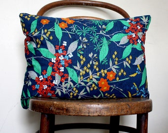Blue Floral Natural Decorative Pillow Cover. Blue, Teal Green, Grey, Orange. Recycled kimono silk throw cushion cover for sofa.
