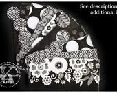 LAMINATED Cash Envelope System in Black and White Floral (10 envelopes)