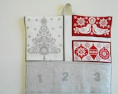 Christmas Advent Calendar in CHRISTMAS TREE  and Doves in Red and Linen / Christmas Countdown Calendar with Pockets in Scandi 2 Fabric