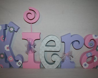 Nursery letters, Flower, Baby name letters, 15.00 per letter, Pink and purple, Nursery decor, Hanging letters, Nursery wall decor, Name sign
