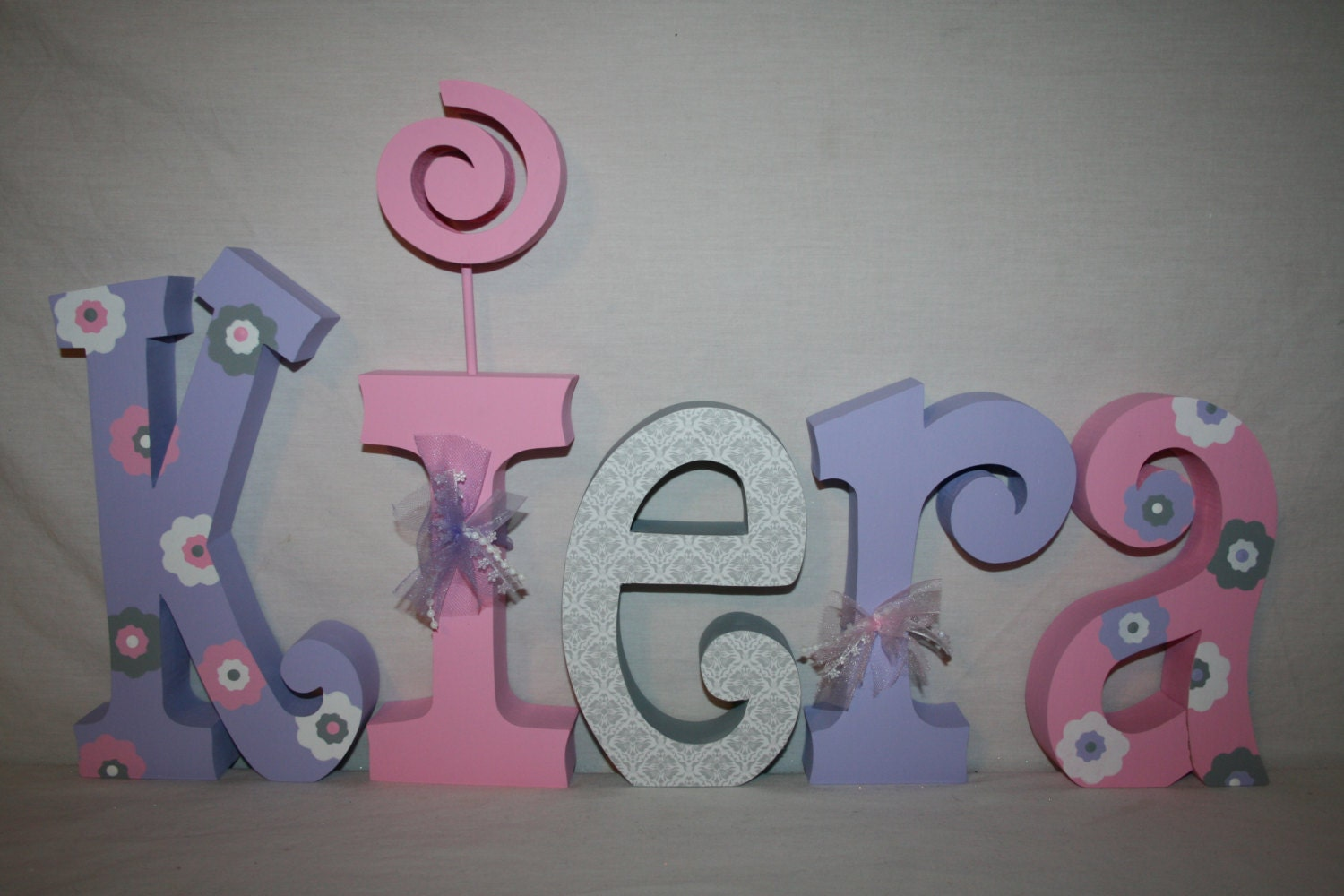 Nursery letters flower baby name letters 5 letter set pink for Baby name letters for nursery