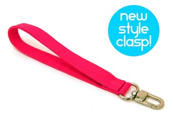 Wrist Strap - Bright Pink Key Chain for Kids - Handmade Wristlet Lanyard - Fabric Vegan Wrist Strap - Ready to Ship