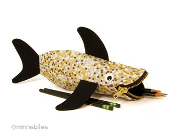 Pencil Case - Planner Pouch - Kids Bag - Gold Shark Pencil Pouch - Art Supplies - Office Gift Desk Toy - Desk Accessory - Personalized Pouch