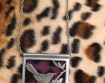 Beautiful Stained Glass Sterling Pendant