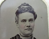 antique tintype with paper frame - woman