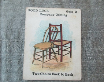Antique Playing Card - Two Chairs Back to Back, Good Luck, Bad Luck, children, game