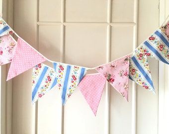 New Pink and Blue Fabric Banners, Garland, Wedding Bunting,Garland,  Floral, Roses, Stripes, Polka Dots - 3 yards