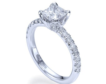 Solitaire Ring, Diamond Ring, 0.91 CT D VS1 Enhanced Natural Diamond Solitaire Engagement Ring Size 11.75 950 Platinum Ring Jewelry