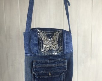 Denim - Butterfly - Upcycled - Reourposed Cross Body Bag