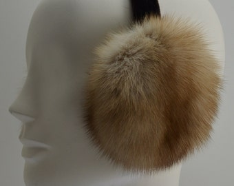 Golden Russian Sable Fur Earmuffs new made in usa