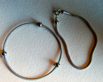 Seven Inch Silver Tone Snake Chain Bracelet//Set of two vintage accessories
