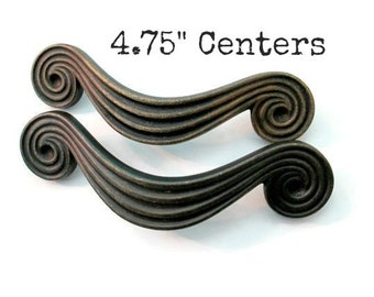 """Pairs of Large Ornate Drawer Pulls 4.75"""" centers - Metal furniture dresser handles knobs 4 3/4"""" spacing - More available"""
