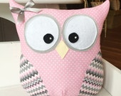 Owl Pillow Pink Polka Dot and Gray Chevron