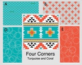 Crib Bedding- Design Your Own Crib Set- Four Corners- Turquoise and Coral