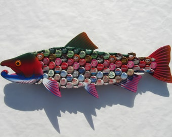 Rainbow Trout Metal Wall Art Soda Bottlecap Fish Art