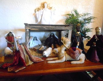 Extrodinary 13 Piece Handmade  Ragdoll Nativity set.12 inch tall dolls